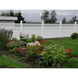 Pack of 10 White Privacy Fence with Lattice - 8ft Wide and 6ft High