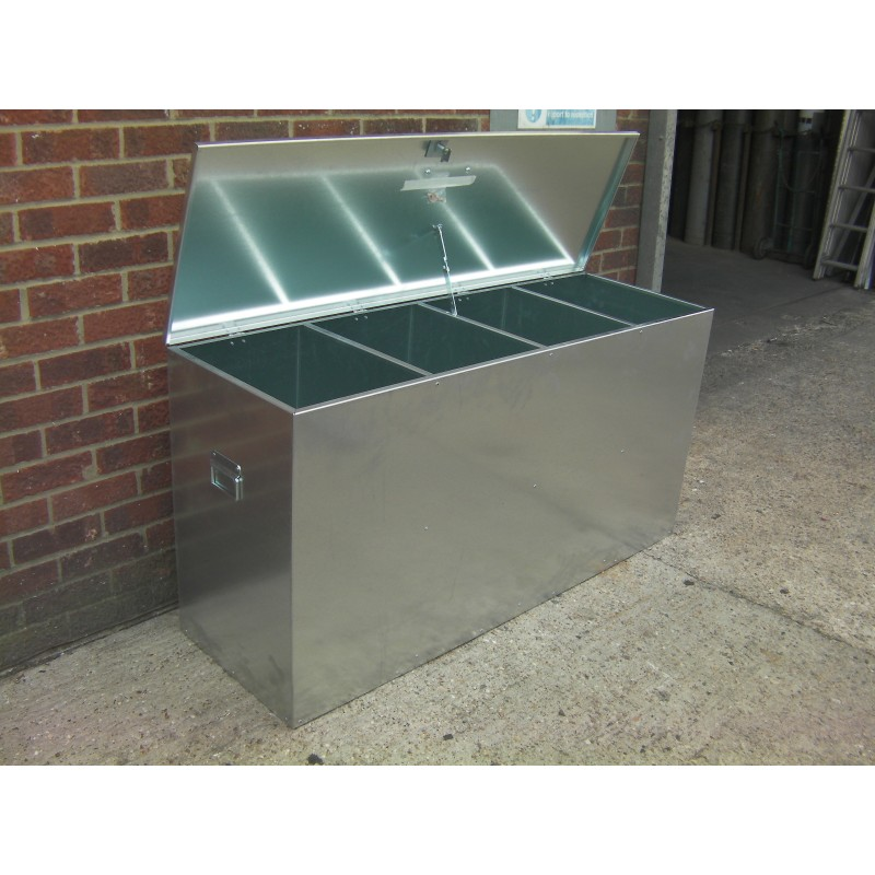 Heavy Duty Large Galvanised Feed Bin 4 Compartments