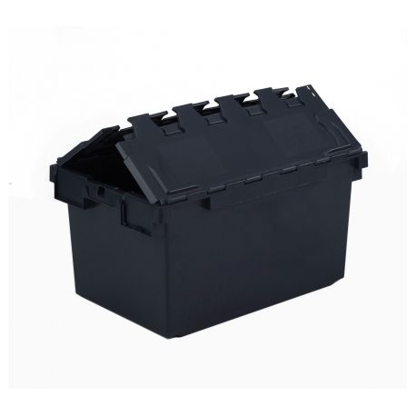 Heavy Duty Tote Box, Attached Lid Container - 64L