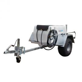 """300L Site Tow Trailer Mounted Water Bowser - 1"""" Pump - 120L/m - Single Axle - Blue Tank"""