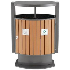 Two Compartment Wood Effect Bin - 2 x 39L