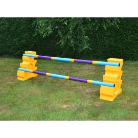 Beginner Jump Set - 1 Fence - Yellow Uprights with purple pole colour
