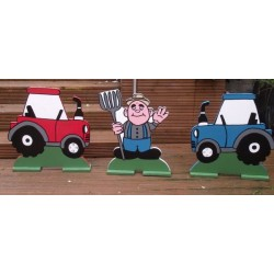 Set Of 3 - Spooky Tractors & Farmer