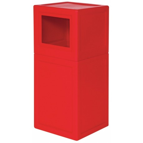 Square litter bin with lid and plastic liner