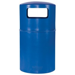 Hooded litter bin with lid and plastic liner