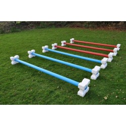 Set of 12 Plastic Cavaletti Blocks and 6 Poles (Plastic with Wood Core) (3.00m)